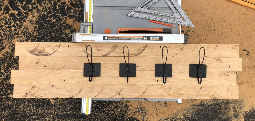 Laying it all out for a rustic DIY coat key rack